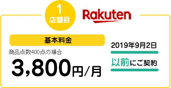 1店舗目楽天市場 基本料金 商品点数400点の場合3,800円/月 2019年9月2日以前にご契約
