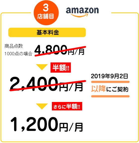 3店舗目amazon 基本料金 商品点数1000点の場合4,800円/月→半額!2400円/月→さらに半額!1200円/月 2019年9月2日以降にご契約